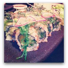 Karma sushi har en vegansk menu og andet vegansk på kortet. (Vestergade 48 og Frederiksgade 83. 8000 Aarhu C.))